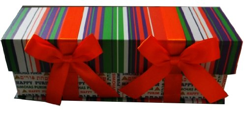 Purim Gift Basket Cardboard With Satin Bows
