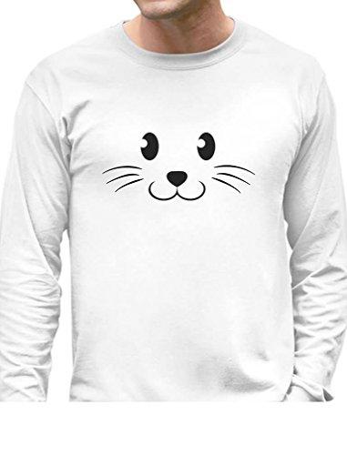 [TeeStars - Cute Face Halloween Easy Costume Long Sleeve T-Shirt XX-Large White] (Easy Cute Teenage Halloween Costumes)