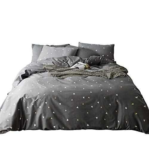 SUSYBAO 100% Cotton Duvet Cover Set,Gray Mini Triangle Print Bedding Set, 1 Grey Geometric Duvet Cover with Zipper Ties, 2 Pillowcases-Luxury Quality Soft Comfortable Lightweight(3pcs,Queen Size) ()