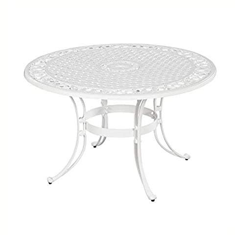 Home Styles 5552-32 Biscayne Round Outdoor Dining Table, White Finish, 48-Inch (White Bistro Dining Table)