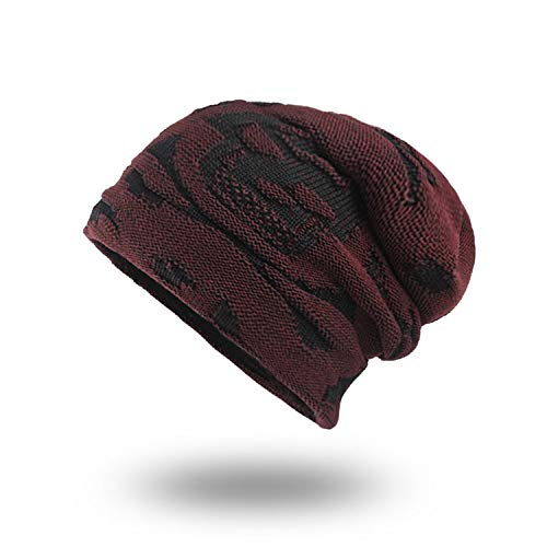 GordonKo Men's Winter Hat Knitted Cotton Beanies Men Hip-Hop Capturban Caps Skullies Hats Red