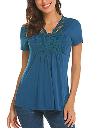 Locryz Short Sleeve Flare Tunic Tops Loose Fit Crochet Summer Henley Blouse Cobalt Blue -