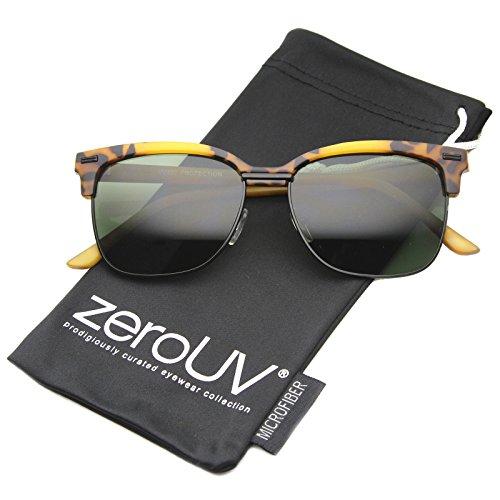 zeroUV - Retro Horn Rimmed Square Lens Half-Frame Sunglasses 53mm (Tortoise-Black / - Tortoise Clubmaster Or Black