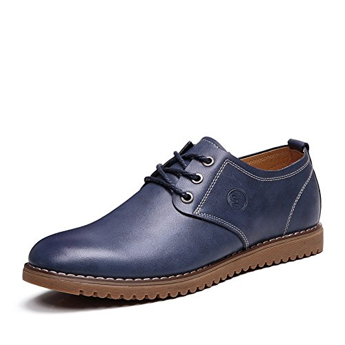 YangXieJiang Men's Dress Casual Oxfords Lace Up Leather Shoes (6.5, Blue)