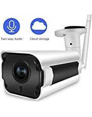 WiFi Camera Outdoor, SDETER Wireless Security Cameras, 720P HD Two-Way Audio Waterproof Bullet Cam with Cloud Service Motion Detection for Indoor Outdoor, 128GB Micro SD Card Support