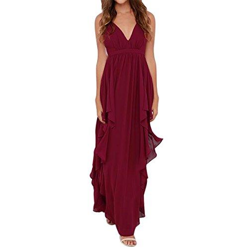 E.JAN1ST Women's Chiffon Dress Fit and Flare Deep V Neck Sleeveless Cocktail Dress, Red, TagsizeXL=USsizeL