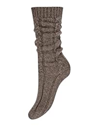 Pure Cashmere Cable Knit Socks for Women Made in Scotland (Otter Brown)