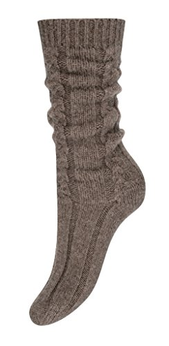 Pure Cashmere Cable Knit Bed Socks for Women Made in Scotland (Otter Brown)