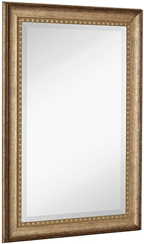 Hamilton Hills New Large Transitional Rectangle Wall Mirror | Luxury Designer Accented - Hammered Gold Bathroom Mirrors