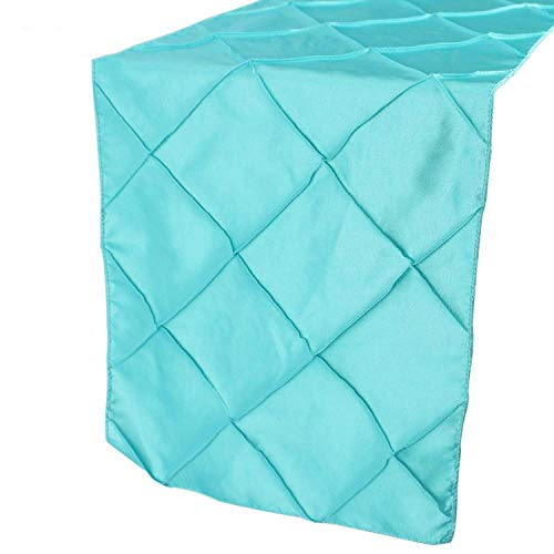 Elegant Stain Table Runners for Wedding Decoration 30275cm Wedding Table Runner Pintuck Square Table Cloth Party Decorations,30x275cm,Aqua Blue -