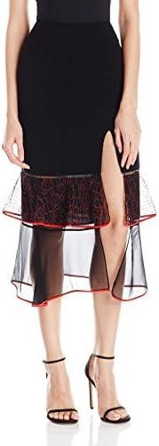 Jonathan Simkhai Womens Lace Ruffle Slit Skirt