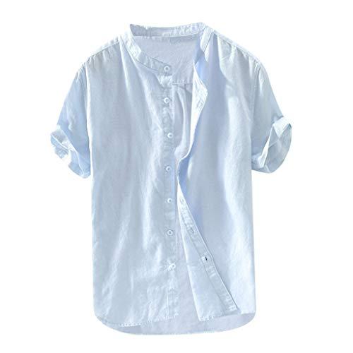 (Beautyfine Short Sleeve Button Retro T Shirts Tops Men's Baggy Cotton Linen Solid Blouse Light Blue)