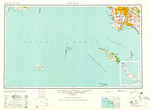 Long Beach CA topo map, 1:250000 scale, 1 X 2 Degree, Historical, 1960, updated 1960, 24 x 33 IN - (Catalina Landing)