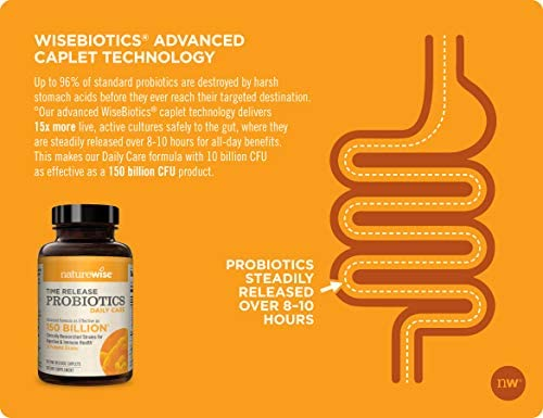 NatureWise Daily Probiotics for Women and Men   Time-Release, Comparable to 150 Billion CFU   Delivers 15x More Live Cultures to Intestines for Digestion & Immune Support [2 Month Supply - 60 Caplets] 5