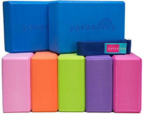 Yoga Block and Strap Set by Pavandeep (3PC Kit) EVA Foam Blocks 2pc + Strap 1pc Firm Grip for Balance Stability & Support in Yoga Pilates Fitness or Gym Exercise