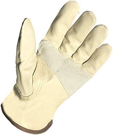 労働保護作業用手袋 労働保険革手袋耐摩耗性高温保護溶接作業用手袋 (Color : White, Size : XL-Five pairs)