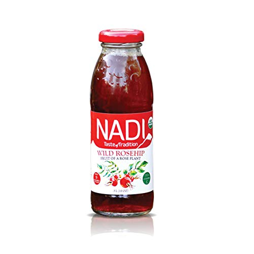 NADI Organic Wild Rosehip Drink, Fruit & Herbal Tea, Flavored Water with Antioxidants, Immune System Booster, Great Source of Vitamin C, Sugar Free, Only 9 Calories, Low Carb, Keto, 10 oz (pack of 8)