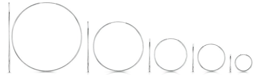 Amberta 925 Sterling Silver Fine Circle Endless Hoops - Polished Round Sleeper Earrings Diameter Size: 20 30 40 60 80 mm (40mm) by Amberta (Image #4)