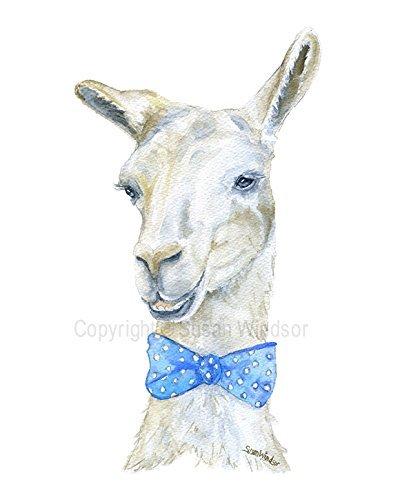 Llama Bow Tie Watercolor Print