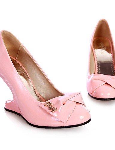 GGX/Damen Schuhe Patent Leder Sommer-/, Round Toe Heels Büro & Karriere/Casual Keilabsatz bowknotblue/grün/pink/ green-us8 / eu39 / uk6 / cn39