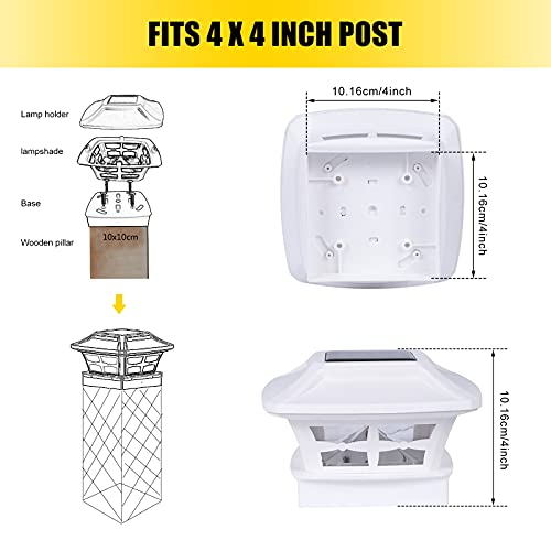 Ninxiao Solar Post Light Outdoor, Waterproof Post Cap Lights Solar Powered for 4x4 inch Vinyl and Wooden Posts, Garden Decorations 2 Modes Warm White/Cool White, White (4 Pack)