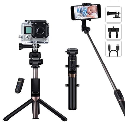 YOKKAO UpgradedWaterproof Selfie Stick Tripod Selfie Stick for Go Pro with Wireless Remote Control Selfie Stick for Gopro Compatible with Bluetooth Enabled Smartphones, Gopro, Digital Cameras (Selfie Stick Bluetooth Gopro)