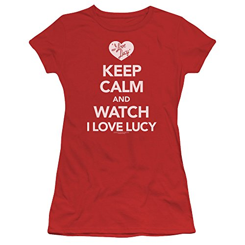 - Trevco I Love Lucy Keep Calm and Watch Juniors' Sheer Fitted T Shirt, Medium Red