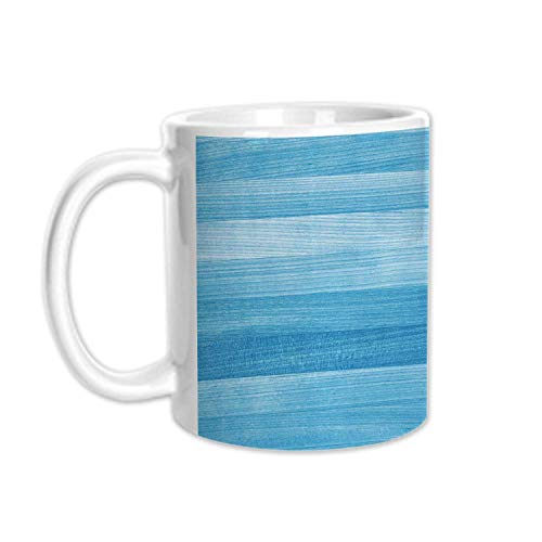Light Blue Stylish White Printed Mug,Wooden Planks Painted Texture Image Oak Tree Surface Maple Pine Board Stripes Decorative for Living Room Bedroom,3.1