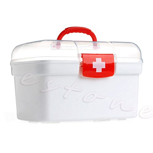 Shoresu Double Layer Health Box Medicine Chest Handle First Aid Kit Storage Organizer White