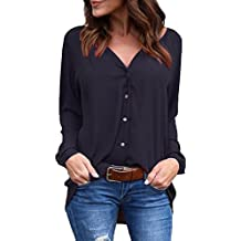 roswear Women's Casual V Neck Cuffed Long Sleeve Button Down Shirts Blouses Tops