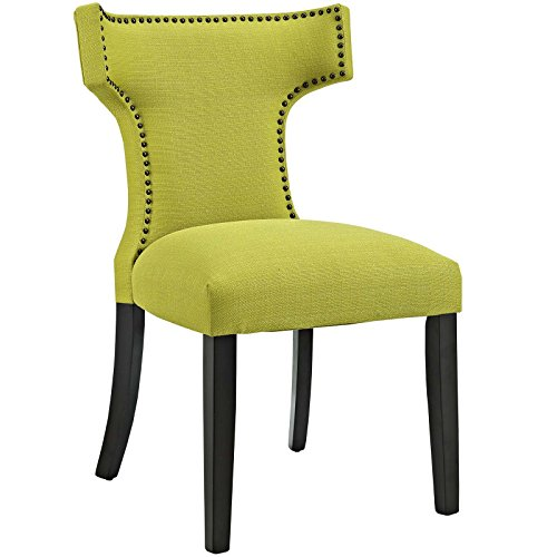 Modway Curve Mid-Century Modern Upholstered Fabric Dining Chair With Nailhead Trim In Wheatgrass