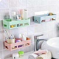 HOME CUBE Multipurpose Kitchen Bathroom Shelf Wall Holder Storage Rack Bathroom Rack Storage Box Strong Magic Sticker Shower Rack Shelf - Random Color