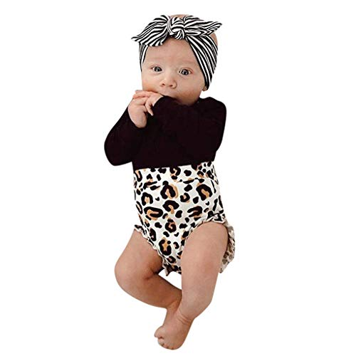 NUWFOR Toddler Kids Baby Girl Infant Clothes Romper Tops Leopard Print Pants Outfits(Black,0-6 Months)