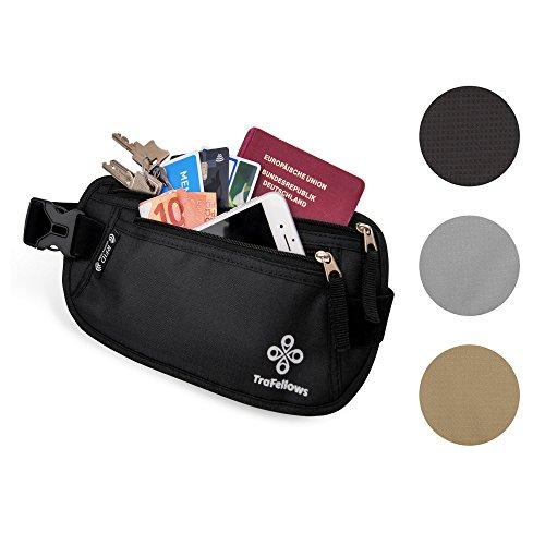 Premium Reise-Bauchtasche mit RFID-Blocker für Damen & Herren | Leichte Hüfttasche enganliegend | Gürtel-Tasche für Sportler & Reisende | Flacher geräumiger Geld-Gürtel (Schwarz)