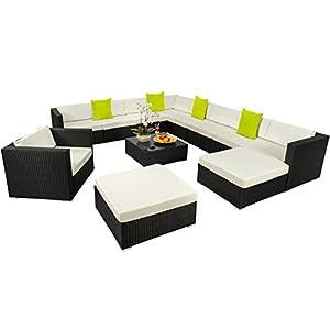 SSITG XXL - Set di mobili da giardino in polyrattan e alluminio, set di mobili da giardino 4 spesavip