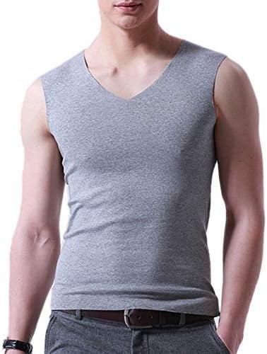 メンズVネックノースリーブ弾性モーダルタンクトップスポーツTシャツ