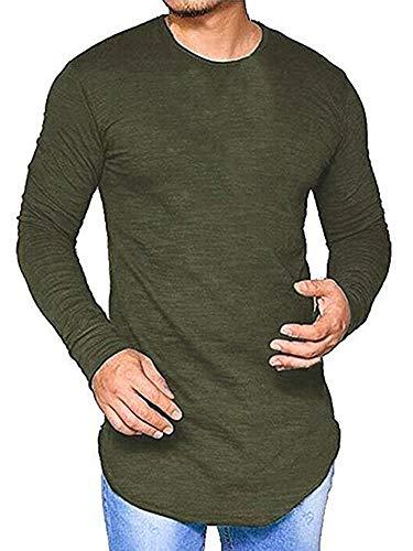 Makkrom Mens Slim Fit Solid Long Sleeve Basic T Shirt Pullover Tunic Tops (Long Length Long Sleeve T Shirts Mens)