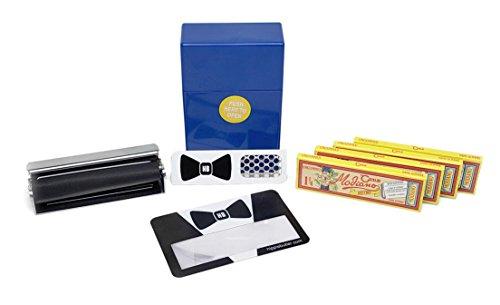 Papers Bistro Ungummed (4 Packs) with DLX 79mm Roller, Cigarette Case, Hippie Butler Grinder Card and Magnifying Scoop Card - 8 Item Bundle ()