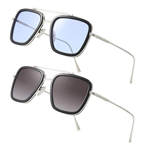 Tony Stark Sunglasses Square Metal Frame Men Women Unisex Vintage Aviator Square Sunglasses (2PcSilverBlack Light blue lens/silverBlack Gray lens) (Herren Square Aviator Sonnenbrillen)