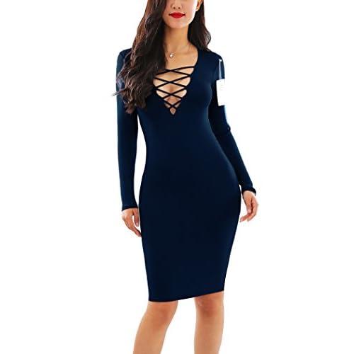31a57d361ff YMING Women Zip-Front Bodycon Party Club Evening Plus Size Dress S-4XL 85