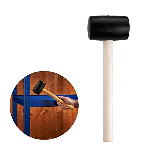VonHaus 8oz Rubber Assembly Mallet Hammer - 300g Hardwood Shaft - Ideal for Racking Tent Gazebo Pegs Camping