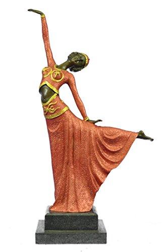 Handmade European Bronze Sculpture Signed D.H.Chiparus bronze statue, art deco dancer sculpture hand Made Figurine-3X-YRD-826BG-Decor Collectible Statues Gift