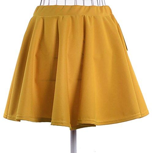 YeeSure Girl's Mini Short Skater Skirt in High Waist for Women DQ01 (L, Turmeric)
