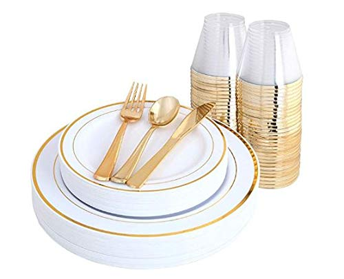 BLACK SWAN 150 pcs Gold Rim Plates & Plastic Silverware & Gold Rim Cups, Disposable Dinnerware/Cutlery/Party Tableware for 25 Guest includes: 25 Dinner Plates, 25 Dessert Plates, 25 Tumblers, 25 Forks