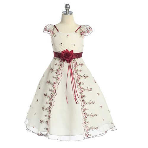 Little Girls Ivory Burgundy Floral Christmas Dress 10 (Kids Christmas Dress)