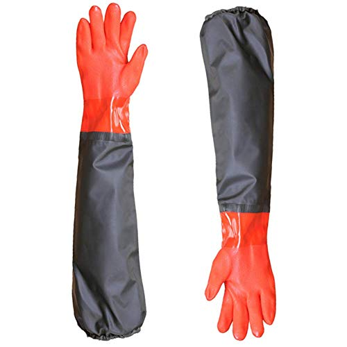 Long Working Durable Waterproof PVC Knitted Gloves with Cotton Lining Fishing Operation Resistant Garden Gloves Agricultural Gloves-Large Gloves