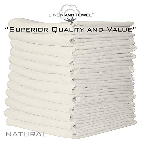 Linen and Towel 12 Pack Premium Flour-Sack Towels, 28 Inch x 28 Inch Natural, Ring Spun Cotton, 130 Thread Count Multi-purpose Kitchen Napkin, Highly Absorbent Flour-Sack Dish Towels ()