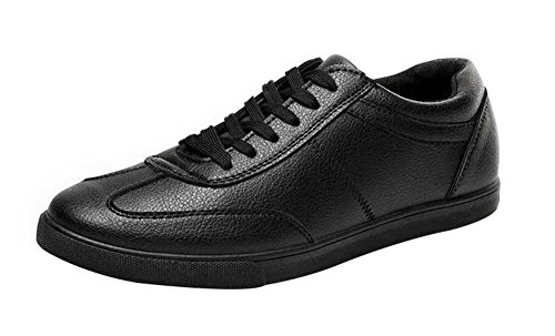 T&Mates Mens Breathable Lace-up Round Toe Casual PU Fashion Sneakers (10 B(M)US,Black)