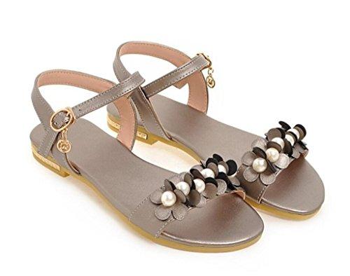 Les Shopping 37 32 41 Jours Dames pour Grey Perles Fleurs 1cm Confortables Sandales d'été Appartements de école xie Tous qwzfPUpw