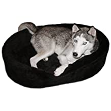 Dog Bed King USA Extra Large Plush Fur Lambswool Dog Bed, 42-Inch by 32-Inch by 7-Inch, Black
